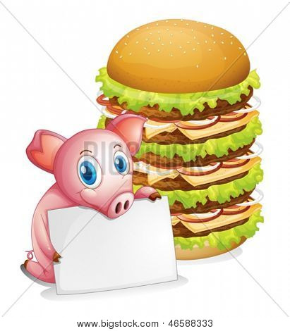 Illustration of a pig holding an empty paper beside a pile of burgers on a white background