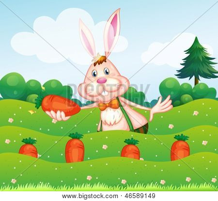 Illustration of a rabbit holding a carrot at the garden