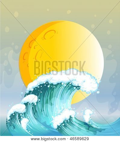 Illustration of the big wave and the big sun