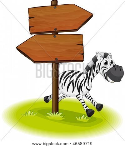 Illustration of a zebra at the back of a wooden arrow board on a white background