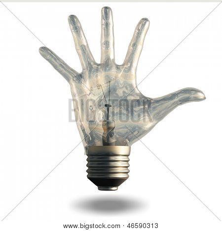 Hand fingers spread light bulb