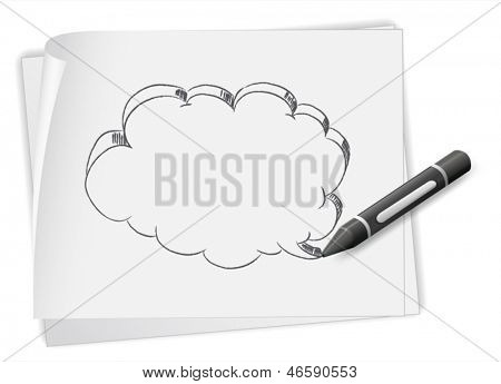 Illustration of a piece of paper with a drawing of an empty callout and a crayon on a white background