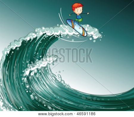 Illustration of a boy surfing with big waves