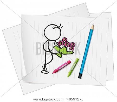 Illustration of a paper with an image of a man holding a boquet of flowers on a white background