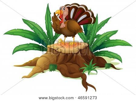 Illustration of a turkey standing on a stump with leaves on a white background