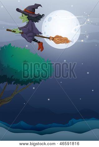 Ilustración de una bruja montando una escoba a lo largo de la luna llena