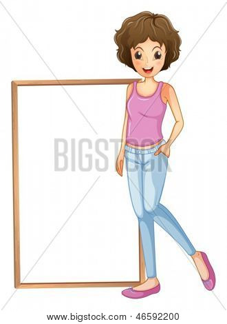 Illustration of a lady with an empty board at her side on a white background