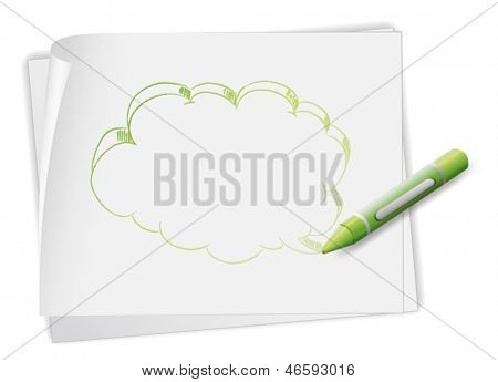 Illustration of a paper with an image of a callout and a crayon on a white background