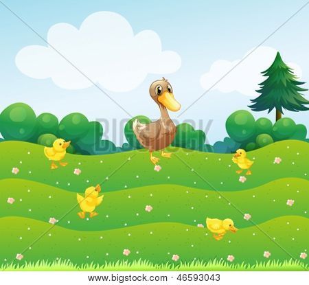 Illustration of a mother duck and her ducklings in the bushes