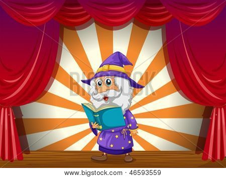 Illustration of a wizard reading in the middle of the stage