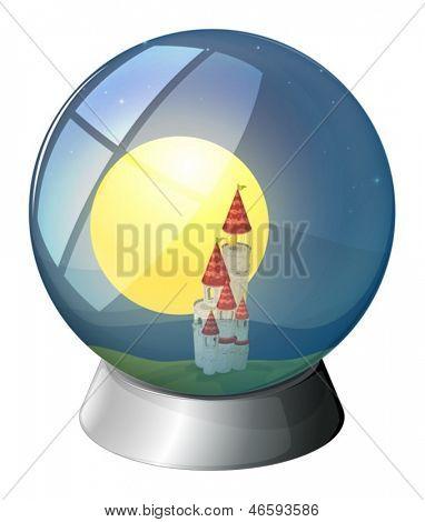 Ilustración de una cúpula con un castillo y una luna llena sobre un fondo blanco