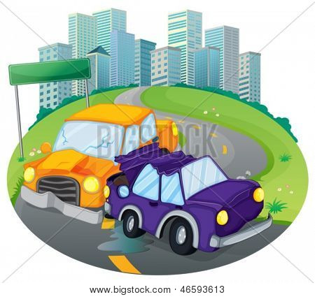 Illustration of a car crash at the street near the empty green signage on a white background