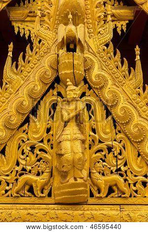 Shwezigon pagodas in Bagan Burma, in detail decoration
