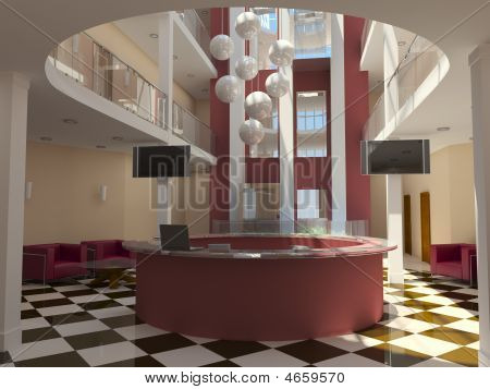 Modern Hotel Lobby With Red Reception