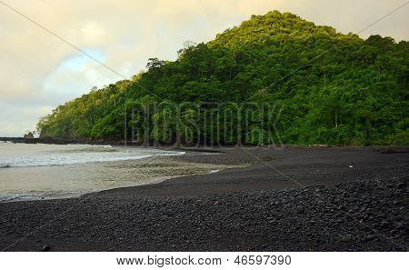 Beach In Panama With Tropical Rainforest