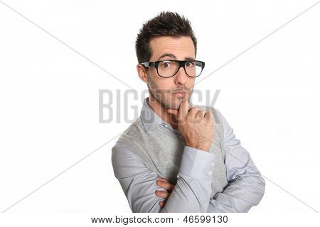 Sceptical man with eyeglasses, isolated