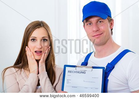 Craftsman or plumber giving overpriced invoice for the service