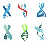 foto of microscopic  - DNA and molecule symbols set for chemistry or biology concept design - JPG