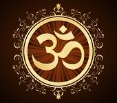 picture of sanskrit  - om symbol in golden frame - JPG
