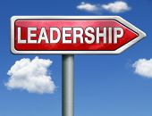 pic of leadership  - leadership road sign follow team leader or way to success concept business leader or market leader business competition authority manager red road sign arrow with text and word concept - JPG