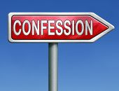 picture of repentance  - confession plea guilty and confess crime or sins sinning testimony or proof truth red road sign arrow with text and word concept - JPG