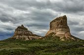 stock photo of nebraska  - A pair of rock formations in western Nebraska - JPG