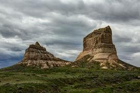 image of western nebraska  - A pair of rock formations in western Nebraska - JPG