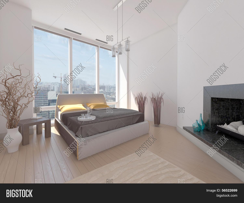 Een 3D-weergave van moderne slaapkamer met van vloer tot plafond ...