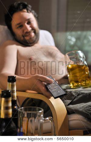 TV addicted man