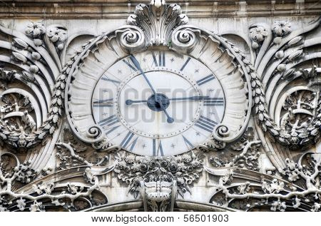Clock on the Rua Augusta Arch in Lisbon, Portugal