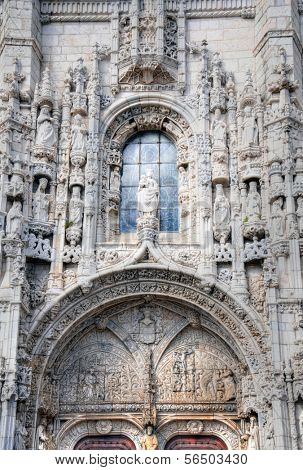 Exterior of the Hieronymites Monastery in Lisbon, Portugal