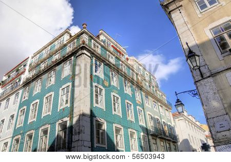 LISBON - MARCH 26: Houses in Baixa district March 26, 2009 in Lisbon, Portugal