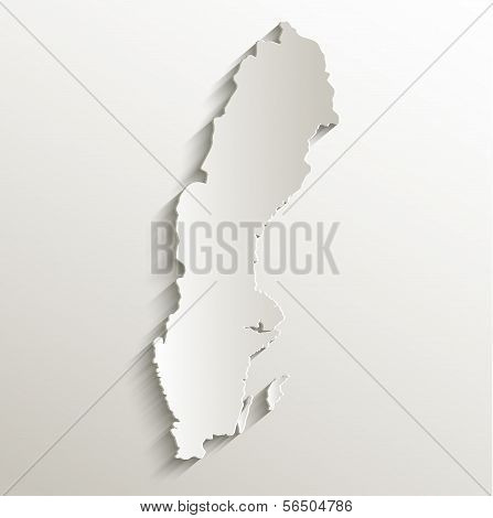 Sweden map card paper 3D natural raster