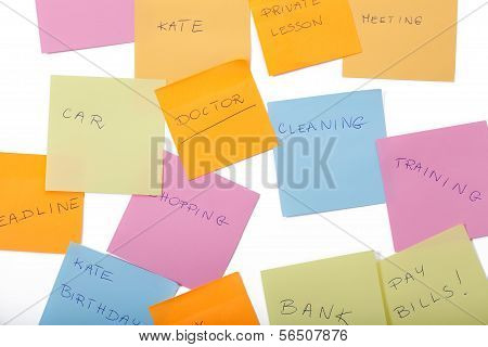 Sticky Notes With Daily Tasks