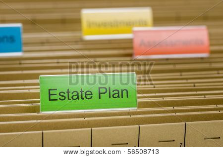 A hanging file folder labeled with Estate Plan