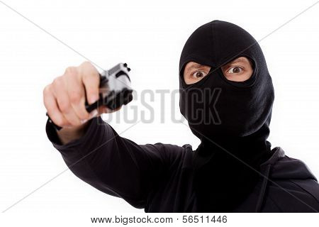 Burglar With Gun And Mask