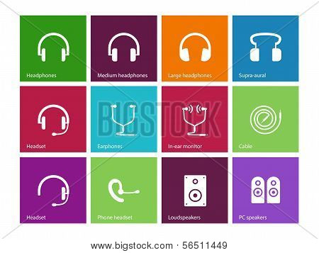 Headphones and speakers icons on color background.