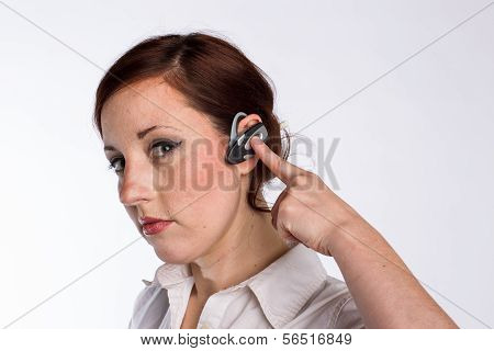 Woman With Bluetooth Headset