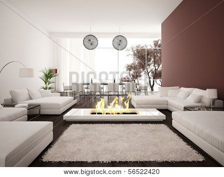 Modern Design living room interior with fireplace