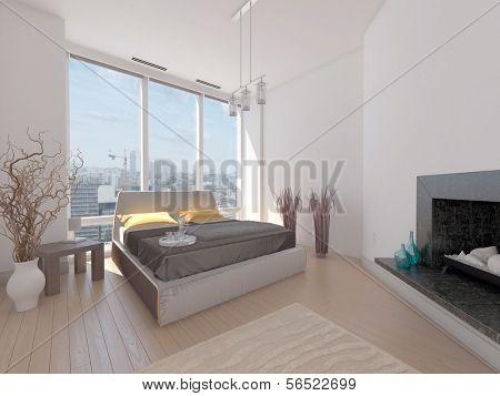 Uma renderização 3d de quarto moderno com do chão ao tecto e vista da cidade