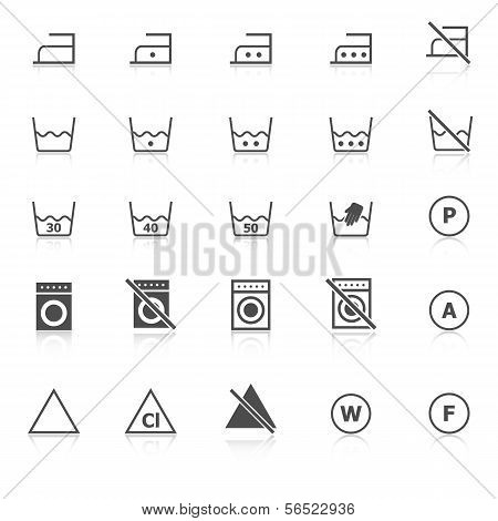 Laundry Icons With Reflect On White Background