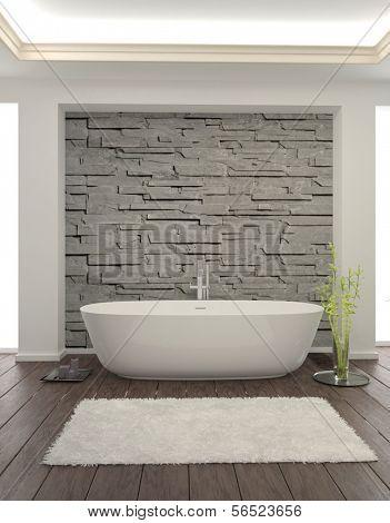 Moderne Badezimmer-Interieur mit Steinmauer