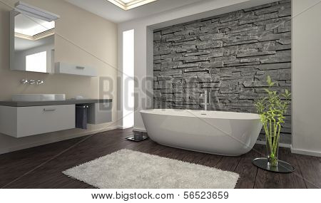 Modern bathroom interior stone wall image photo bigstock - Revetement mural pour salle de bain humide ...