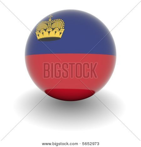 High Resolution Ball With Flag Of Liechtenstein