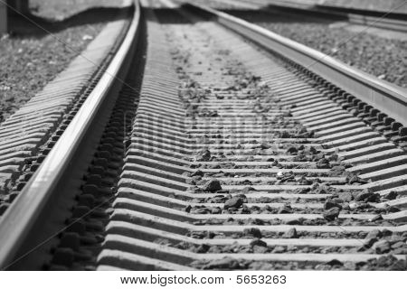 Railway (rails and sleepers streching far away)
