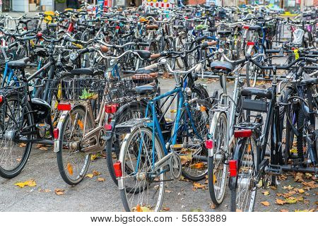 MUNICH - OCTOBER 20  Bicycles on October 20, 2013, Munich, The Germany  Bicycles are popular way to