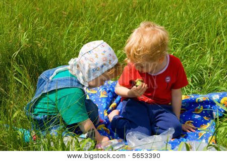 Children on picnic