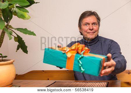 Senior Adult Gets A Present
