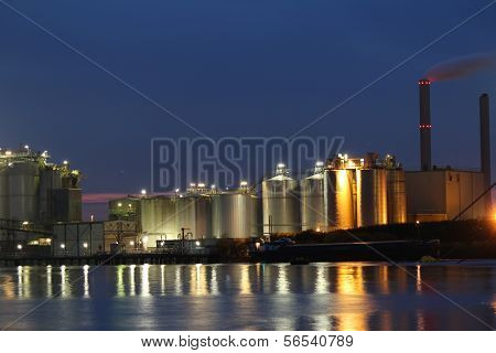 storage tanks in the port