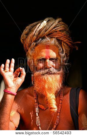 Sadhu Man At Pashupatinath, Nepal